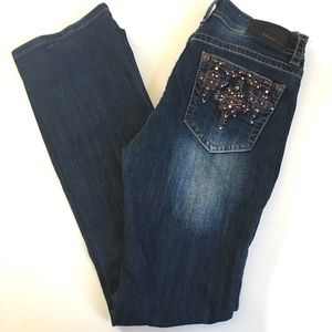 GRACE IN LA Mid Rise Easy Bootcut Jeans Embroidery